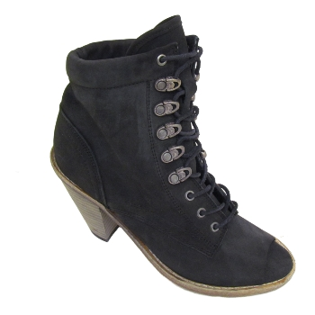 BLACK EX-DESIGNER LEATHER LACE-UP ANKLE BOOTS SIZE 3-8 Preview